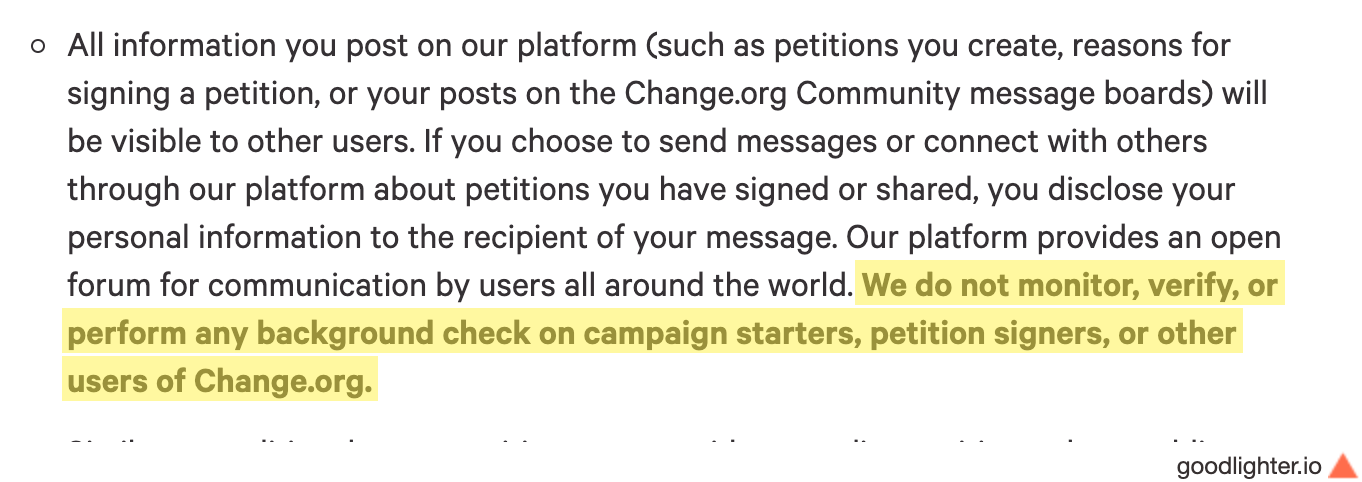 Part of Change.org's privacy statement